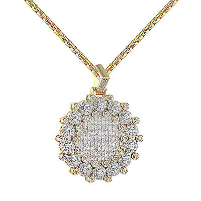 Iced Out Round Medallion Pendant Solitaire Lab Diamonds Gold Tone Free 24  Chain