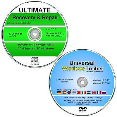 Recovery & Repair + Treiber DVD für Windows 10, 8, 7, XP      ✔ 2er CD/DVD Set   ()