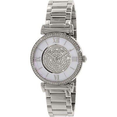 Mother Of Pearl Silver Wrist Watch - Michael Kors MK3355 Catlin Mother Of Pearl Crystal Dial Silver Tone Wrist Watch
