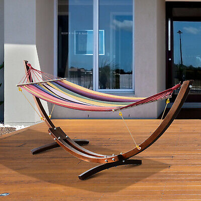Patio Wood Arc Stand Hammock Swing W/ Stripe Colorful Cotton Fabric Sling Bed