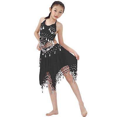 Kids Professional Belly Dance Halter top & Skirt Halloween Costume Silver Coins - Professional Halloween Costumes