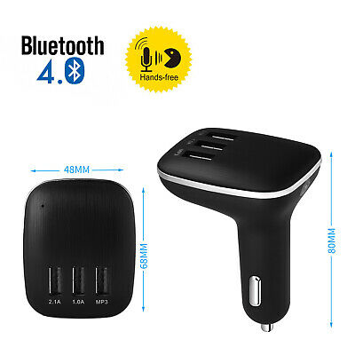Wireless Bluetooth 4.0 Handsfree Transmitter 3 USB Charger MP3 Player FM Car Kit