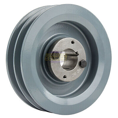 Cast Iron 6.25 2 Groove Dual Belt B Section 5l Pulley And 1-14 Sheave Bushing