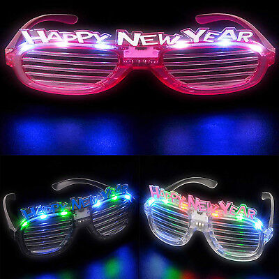 Light Up New Years Eve Party Glasses LED Slotted Sunglasses 2019 Glowing 4 Pcs (Glow New Years Eve)