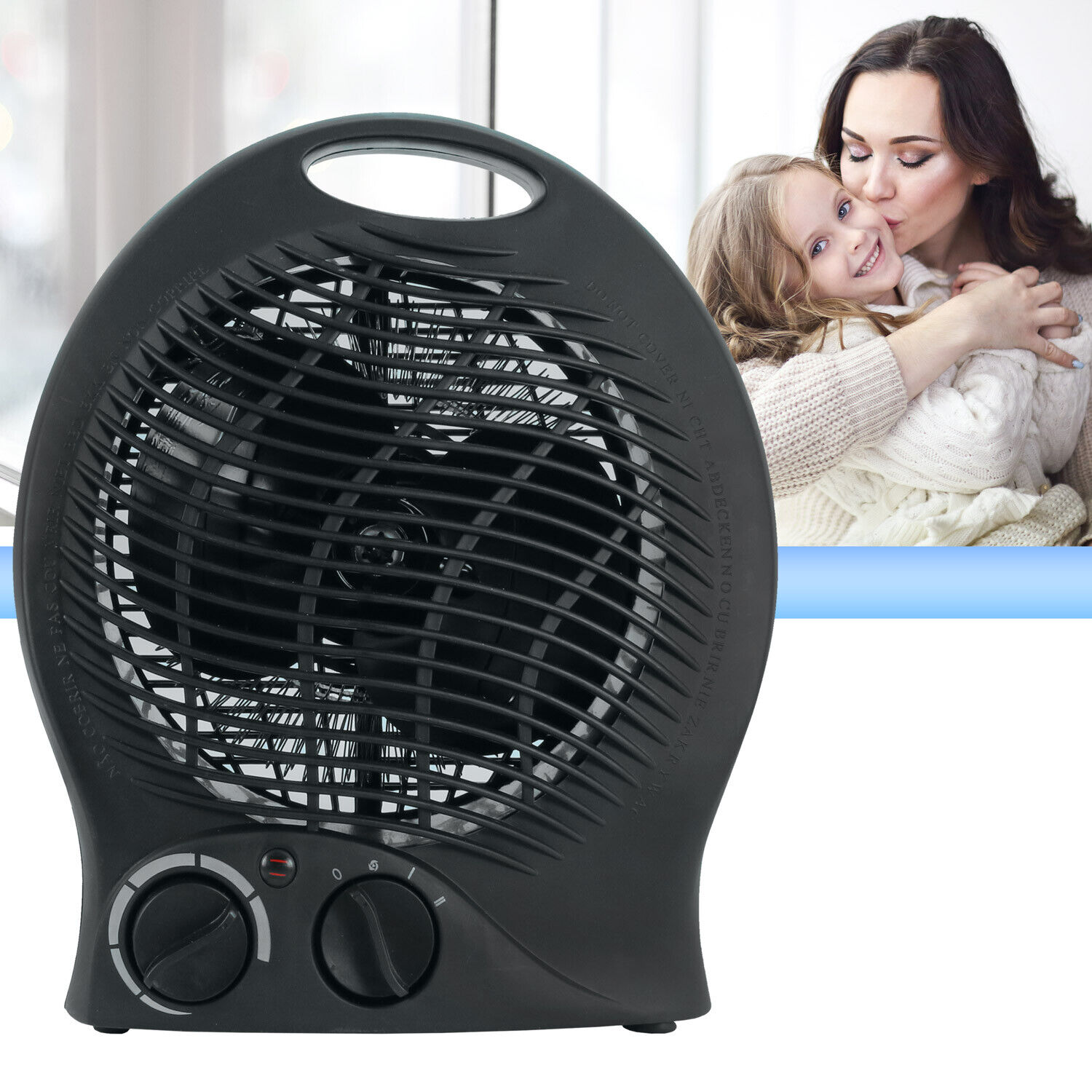 Portable Space Heater Electric Home Fan Compact Quiet, Adjus