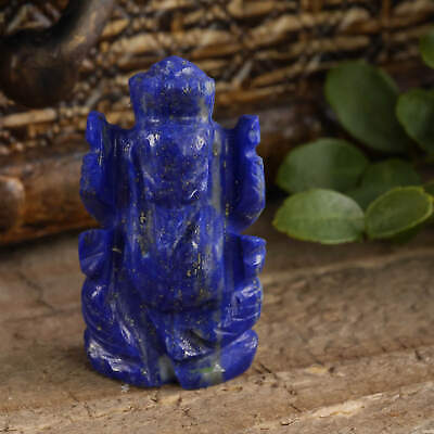 LAPIS LAZULI Ganesha Statue - One Carved Stone E0288 Carved Ganesh Statue