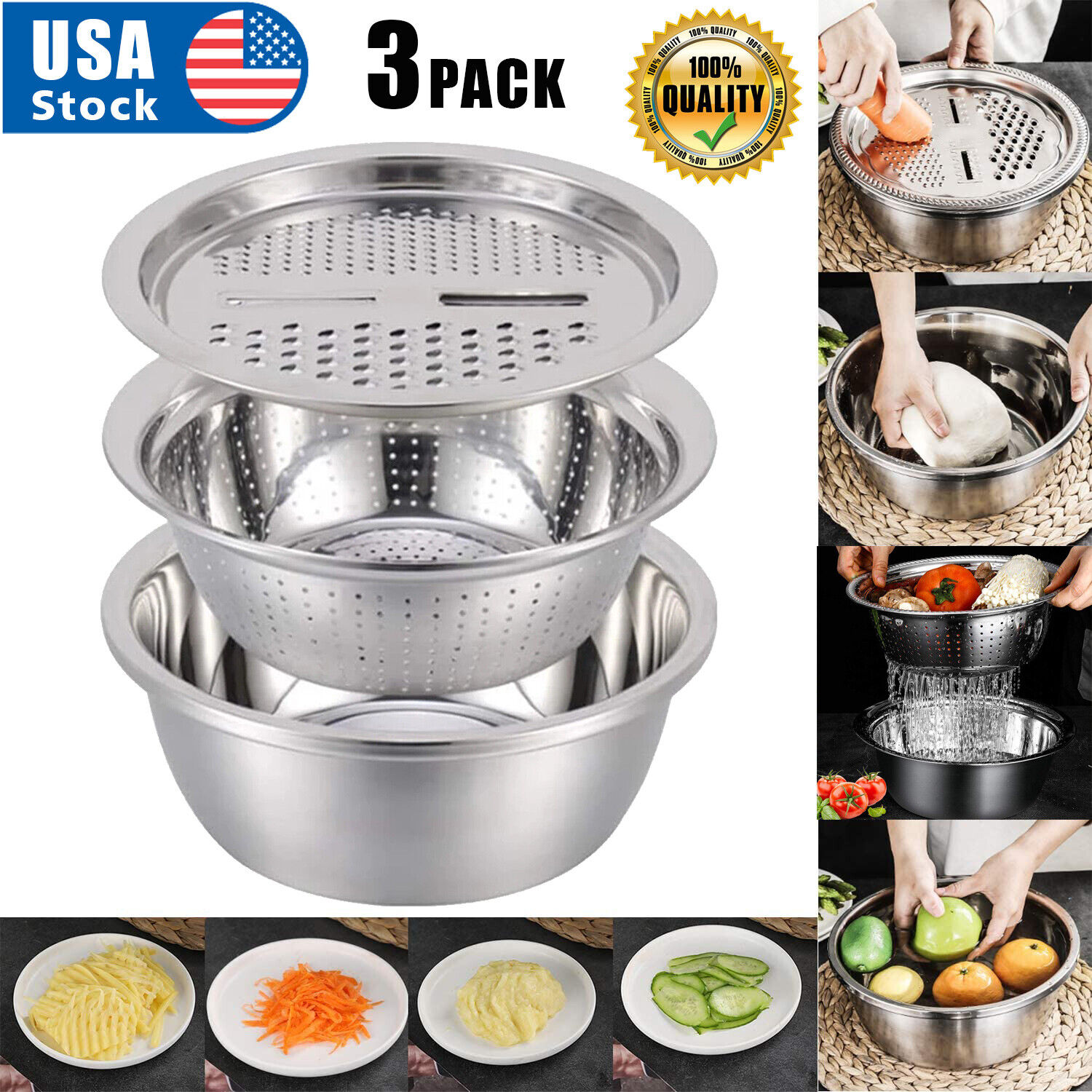 3 Pcs Kitchen Stainless Steel Multi-function Grater Slicer Washing Drain Basin Colanders, Strainers & Sifters