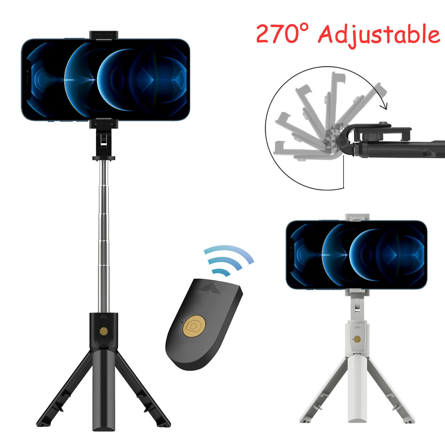 Remote Selfie Stick Tripod Phone Desktop Stand Desk Holder F