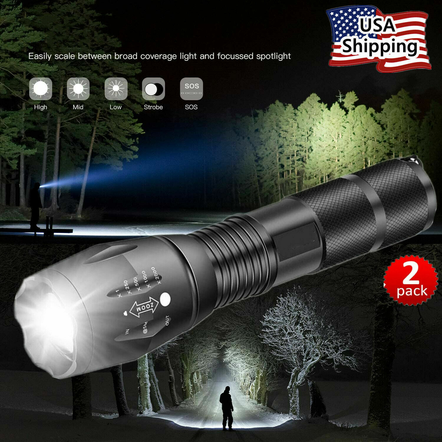 Super-Bright 90000LM XML-T6 LED Tactical Flashlight 5 Modes Zoomable 2-Pack Camping & Hiking