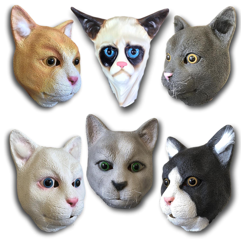 CASA GATTO Maschera Copricapo totale in lattice Micio di animali Costume
