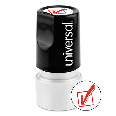 (UNIVERSAL Round Message Stamp CHECK MARK Pre-Inked/Re-Inkable Red 10075)