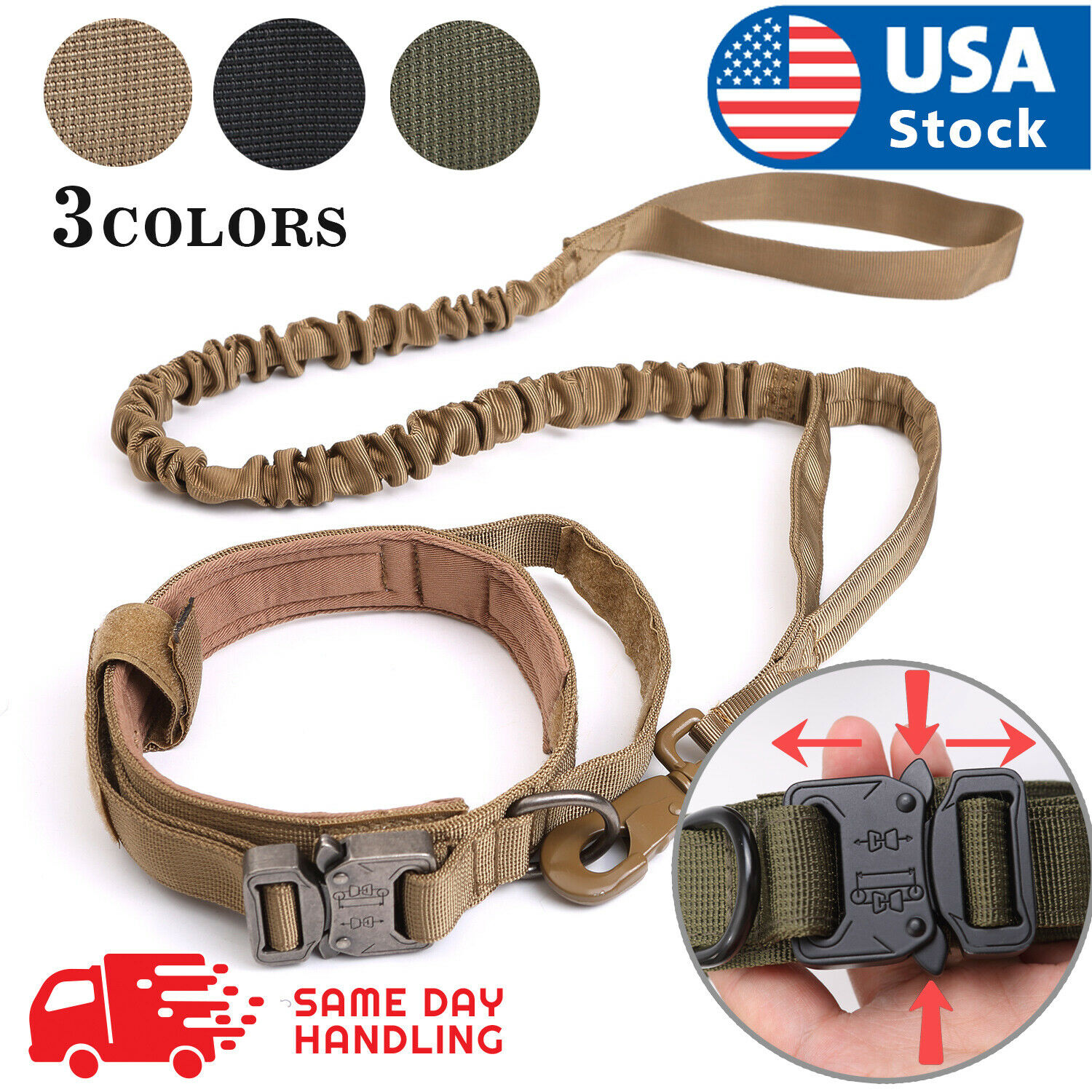 Tactical  K9 Dog Training Collar+Leash with Metal Buckle for L Dog Heavy Duty Collars
