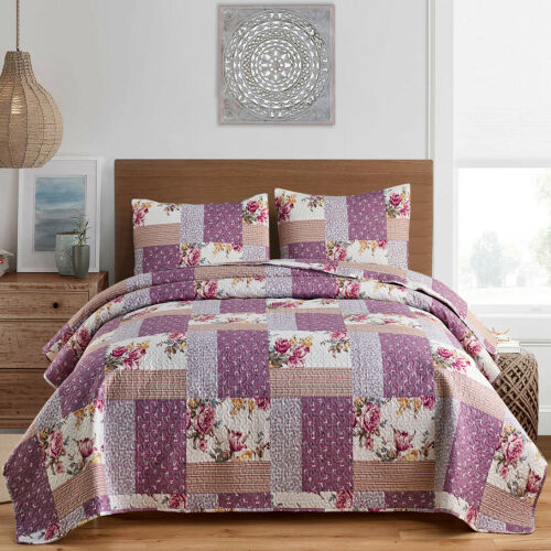 3 Pieces Plaid Printed Reversible Bedspread/Quilt Set (Queen/King Size)