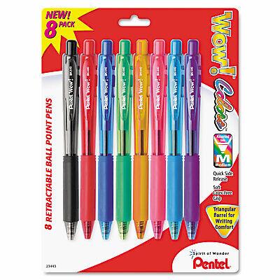 Pentel Wow Retractable Ballpoint Pen 1mm Assorted Barrel Assorted Ink 8pack