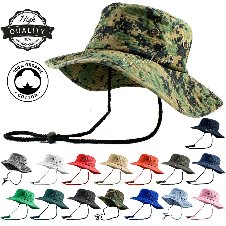 Unisex 100% Cotton Bucket Hat Fishing Camping Safari Military Boonie Sun Summer