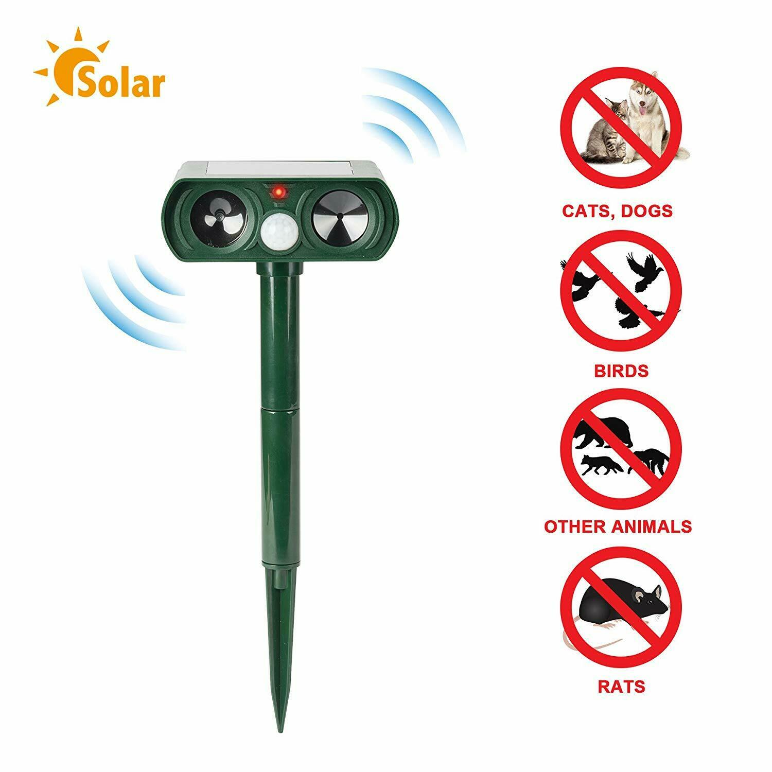 Solar Ultrasonic Animal Repeller Cat Dog Outdoor Ultrasonic