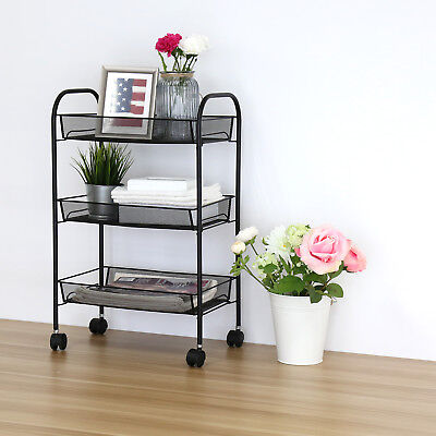 3 Tier Utility Cart Mesh Rolling Storage on Wheels Steel or Kitchen Office Black