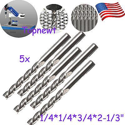 5pc 14 X14 Hss Cnc Straight Shank 4 Flute End Mill Cutter Drill Bit Tool Us