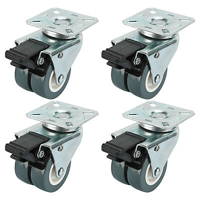 4 With Brakes Dual Wheel Casters Heavy Duty Swivel Plate Locking Casters 551lbs