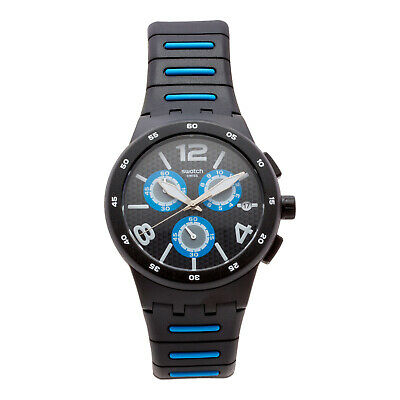 Swatch Unisex Swiss Quartz Chrono Black/Blue Silicon Analog Watch SUSB410