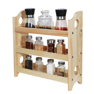 3 Tier Wall Mounted Bathroom (3-Tier Wall-Mounted Wooden Spice Rack Bathroom Kitchen Dining Countertop)