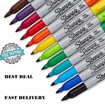 Marker Fine Point Permanent Assorted Colors Sharpie 12 Piece Set Durable Write