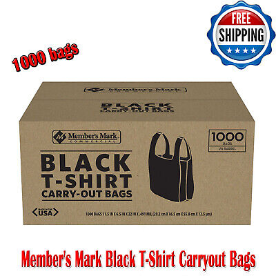 Members Mark Black T-shirt Carry Out Thank You Bags Recyclable 1000 Ct Plastic