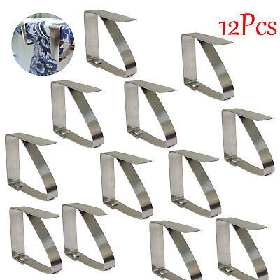 12x Stainless Steel Table Cloth Cover Clip Clamp Holder for Picnic Party in US