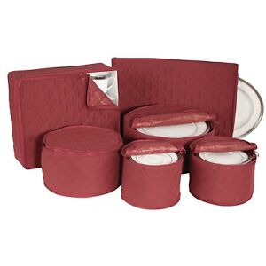 China Storage Set 6 Box Quilted Cases Dinnerware Crimson Keepers Fine Containers