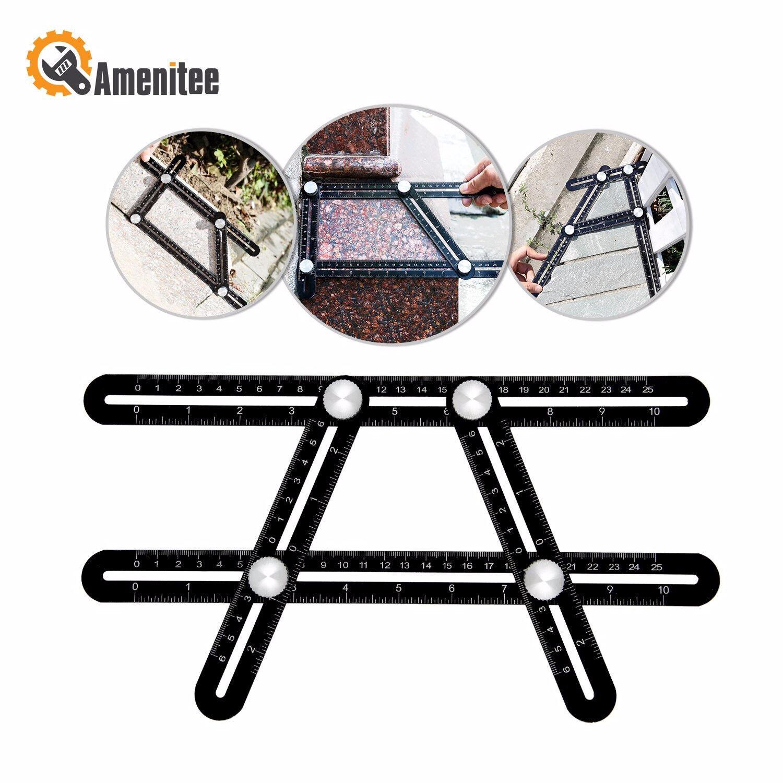 Amenitee Universal Angularizer Ruler - Full Metal Ultimate Template Tool (Black)