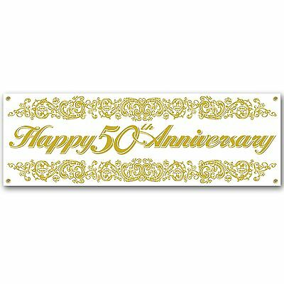 Jumbo Happy 50th Anniversary Sign Banner Party Accessory 5 ft x 21 inch - Happy 50th Anniversary Banner