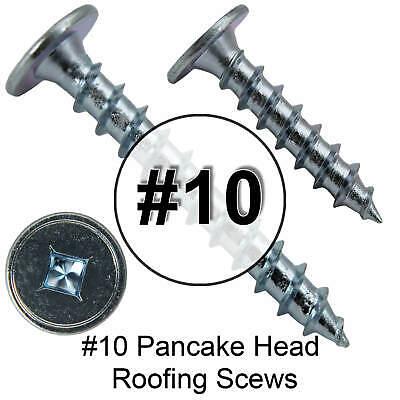 10 X 1 Low Profile Pancake Head - Wood To Metal Roofing Screws - Zinc Plated