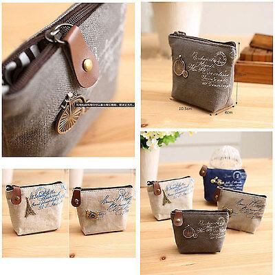 Women Girl Children Kids Coin Wallet Purse Zipper Bag Pouch Mini Beige