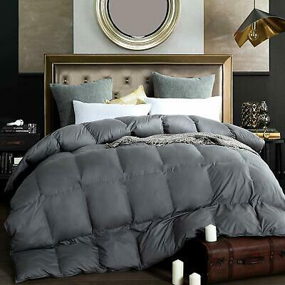 King/Queen White Goose Down Comforter Duvet,Gray 100% Cotton 280gsm All Seasons ()