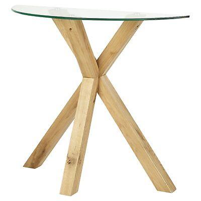Tesco Hattrell Modern Style Console Oak Glass Top Table H80xW93xD36cm
