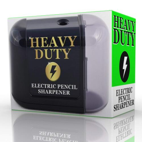 Electric Pencil Sharpener Battery Powered Heavy Duty Helical Blade Black