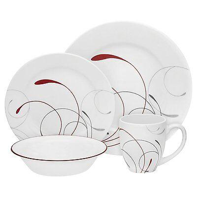 Corelle Vitrelle Splendor Round Kitchen Dinner Set Plate, Bowl, Cup, Soup, 16 Pi