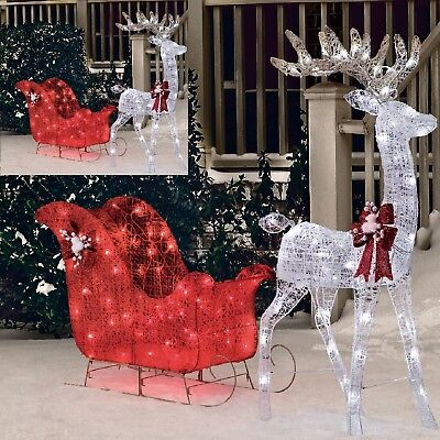 "Christmas Outdoor Garnish Pre Lit Deer 52"" Reindeer 40"" Sleigh Xmas Sculpture"