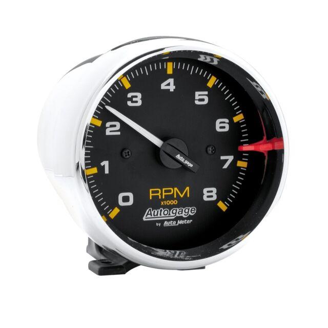 """AUTOMETER AUTOGAGE TACHO CHROME, PEDESTAL MOUNT 3.3/4"""" 0-8000 RPM - AU2301"""