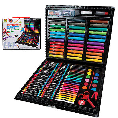 Kids Art Set 150 Piece Portable Case Markers Colored Pencils Pastels Drawing Kit