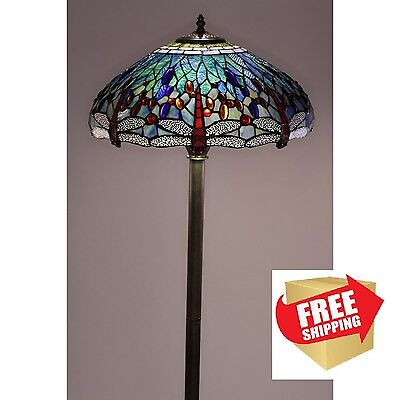 - Dragonfly Floor Lamp Tiffany Style Handcrafted Antique Stained Glass Shade Stand
