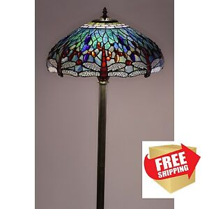 Antique tiffany floor lamp ebay dragonfly floor lamp tiffany style handcrafted antique stained glass shade stand mozeypictures Choice Image