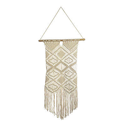 Natural 100% Cotton Handmade Macrame Wall Hanging (14.4x32 in)