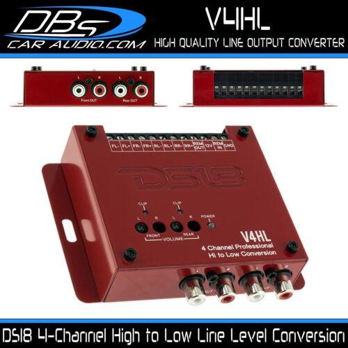 DS18 V4HL Line Level Converter 4 Channel Hi to Low Factory Radio Speaker Adaptor