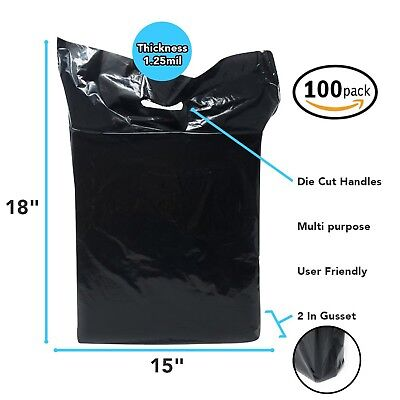 Black Merchandise Plastic Shopping Bags - 100 Pack 15 X 18 1.25 Mil Thick ...