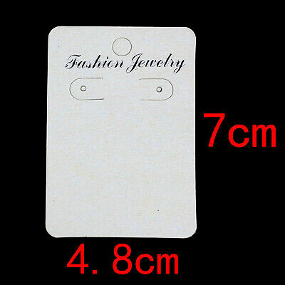 100pcs White Dangle Earring Cards Tag Jewelry Display Paper Packing 7x4.8cm