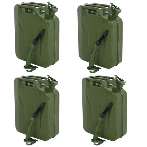 4PC 5 Gallon Military Style Jerry Green Can Fuel Storage Steel Fuel Tank 20L
