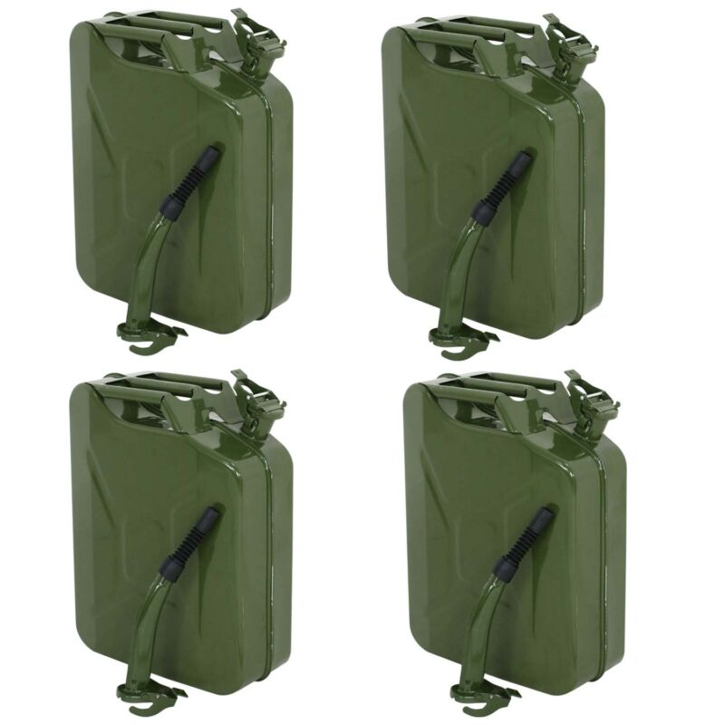 4x Jerry Can 5 Gallon 20L Gas Fuel Steel Tank Emergency Backup Army Military