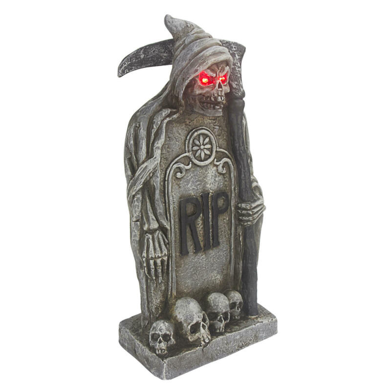 Grim Reaper Tombstone RIP Sculpture W/ LED Light Halloween Statue Día de Muertos