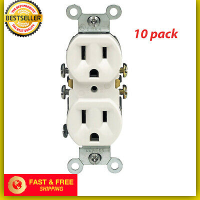 Best 10 Pack 125 Volt 15 Amp Electrical Outlet Receptacle Plug White Residential White Residential Electrical